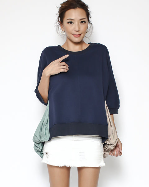 navy sweatshirt with beige & pale green chiffon pleats back