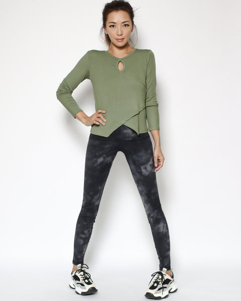 green cutout front sports top *pre-order*