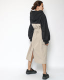 black sweat & beige shirt hoodie dress with belt