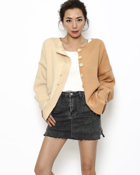 beige & camel knitted cardigan