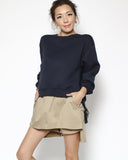 navy neoprene & green lace slip sweatshirt