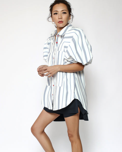 ivory & blue stripes puff sleeves slinky shirt
