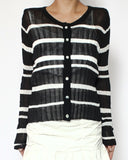 black & white stripes texture cardigan *pre-order*