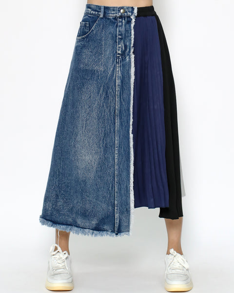 denim & navy black grey chiffon pleats skirt *pre-order*