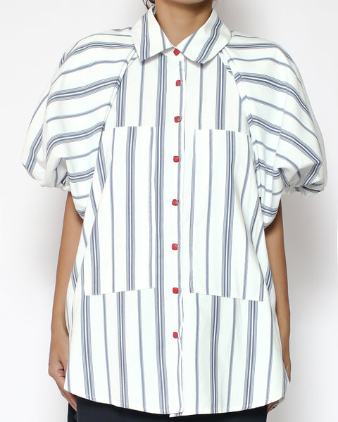 ivory & blue stripes puff sleeves slinky shirt *pre-order*