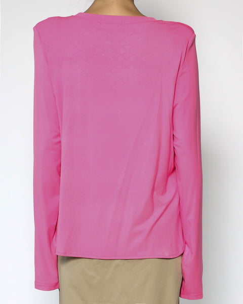 bright pink jersey shoulder pads tee