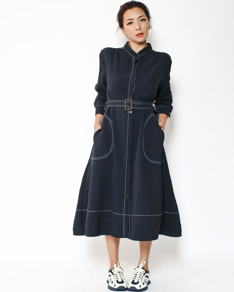 navy shirt dress with belt