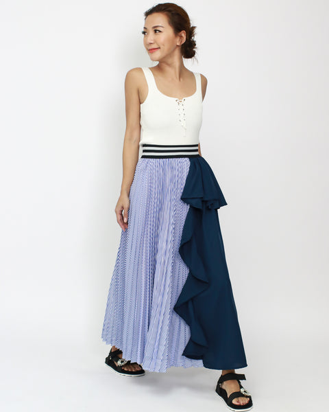 navy stripes shirt with chiffon ruffles contrast skirt *pre-order*