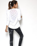 ivory mesh straps back sports top *pre-order*