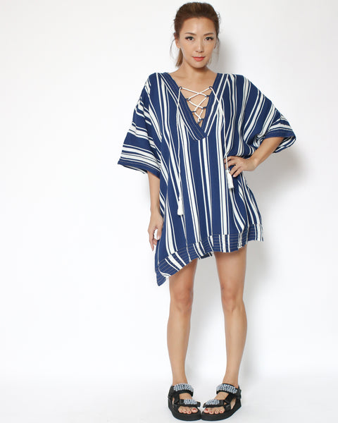 navy stripes lace up beach cover-up