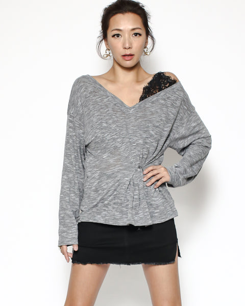 marl grey tee with black lace top *pre-order*