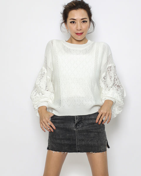 ivory knitted & crochet sleeves top