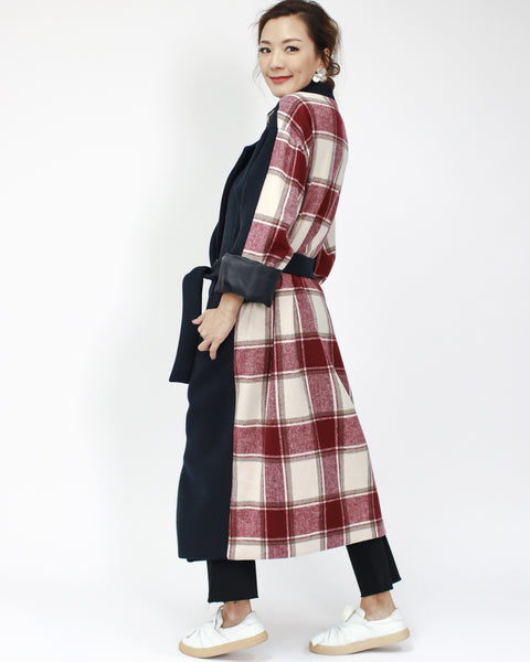 navy with burgundy checkers contrast wool-blended longline jacket with belt