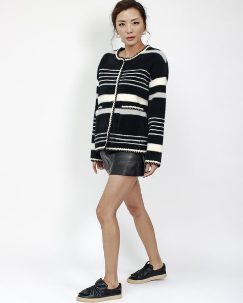 black & ivory stripes fluffy knitted jacket *pre-order*