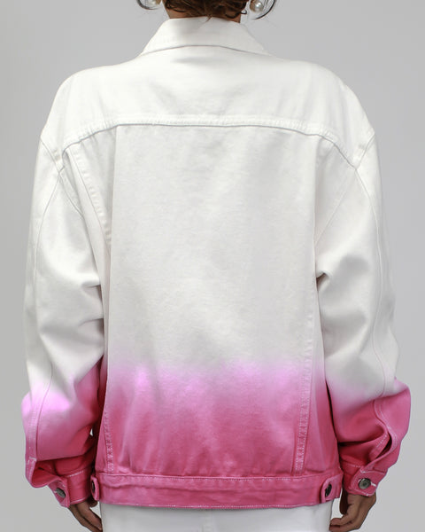 ivory with ombre pink denim jacket *PRE-ORDER*
