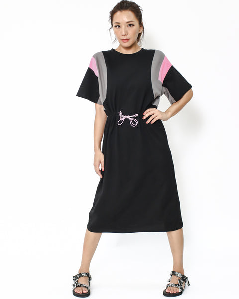 black with pink & grey cotton drawstring dress *pre-order*