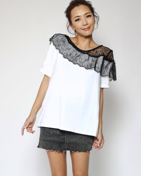 white tee with lace shoulder