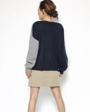 navy & grey knitted top *pre-order*