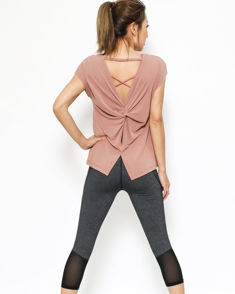 dusty pink ruched back tee *pre-order*