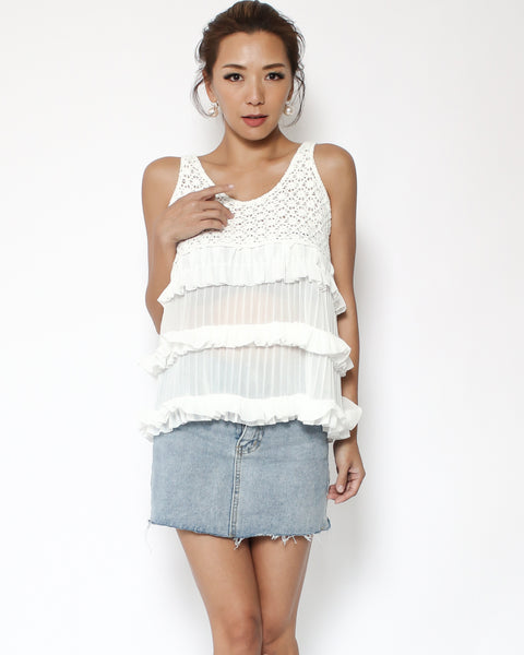white crochet knitted with chiffon pleats ruffles vest