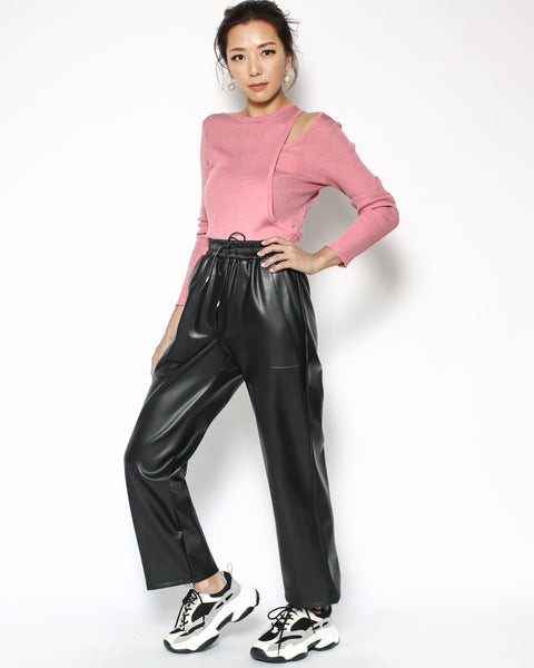 black PVC leather pants