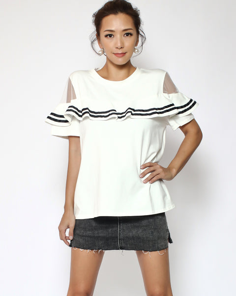 ivory with black straps ruffles & mesh shoulders tee