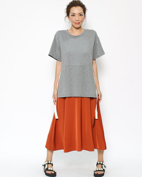 grey tee & nay orange slinky dress