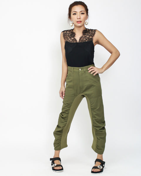 army green twill ruched high waist pants *pre-order*