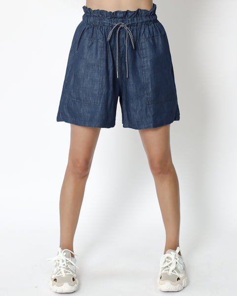 denim drawstring casual shorts *pre-order*