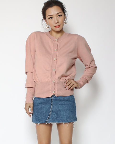 pink cardigan with pearls button