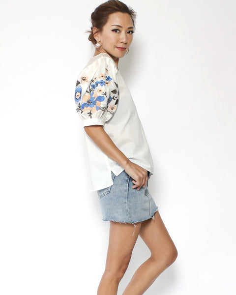 ivory shirt with embroidered puff sleeves