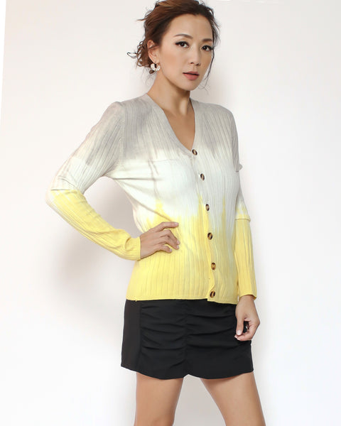 grey ivory & yellow ombre knitted cardigan