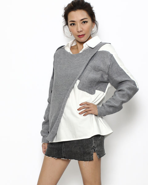 grey knitted cape & ivory shirt 2 pieces set