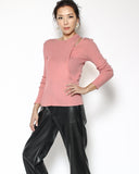 pink cutout shoulder knitted top
