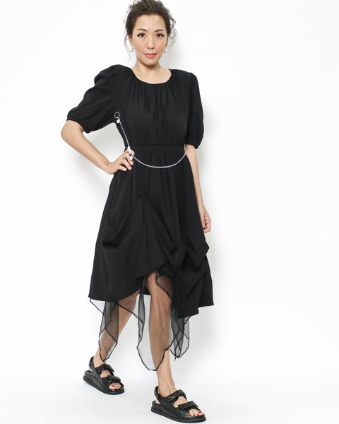 black slinky mesh hem & pearls chain dress