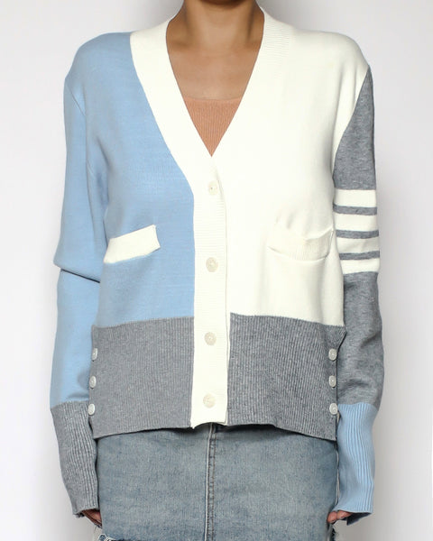 ivory & blue grey knitted cardigan *pre-order*