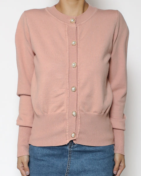 pink cardigan with pearls button *pre-order*