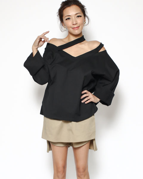 black cutout strappy sweatshirt