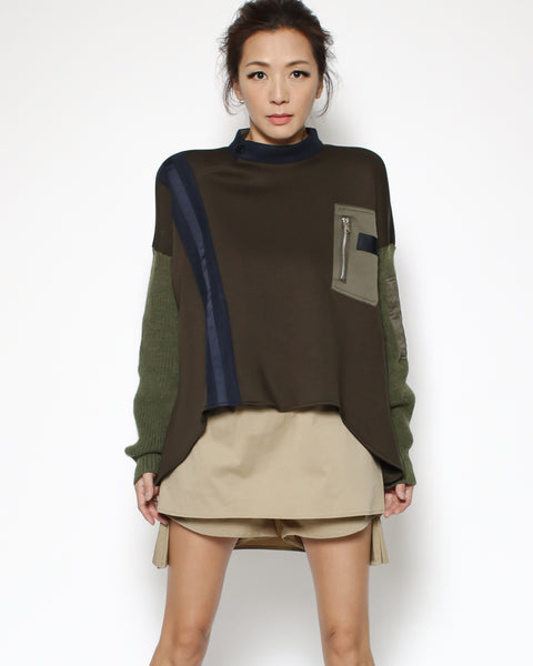 green neoprene & knitted sleeves top