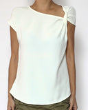 ivory slinky twisted side top