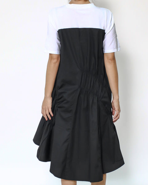 white tee with black ruched shirt contrast dress *pre-order*
