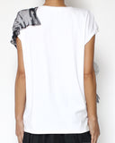 white tee with black mesh polka dots tie-up front *pre-order*