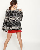 black polka dots puffs sleeves cardigan *pre-order*