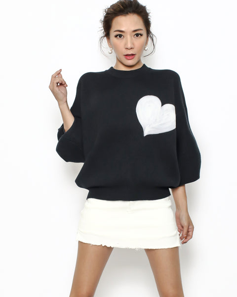 black heart printed knitted top *pre-order*