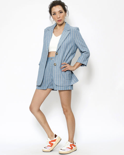 blue stripes linen blazer & shorts set *pre-order*