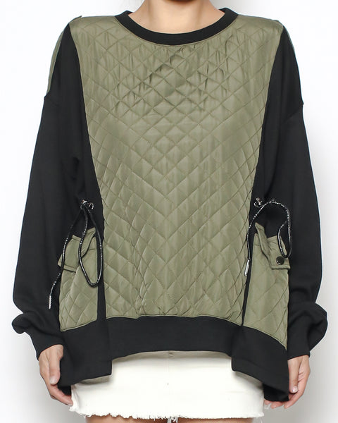 black & bomber green sweatshirt