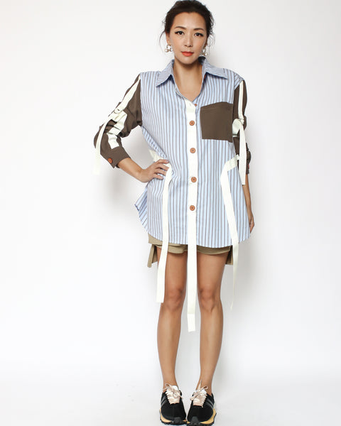 navy stripes & brown sleeves straps shirt