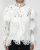 white crochet high neck top *pre-order*