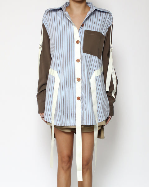 navy stripes & brown sleeves straps shirt *pre-order*