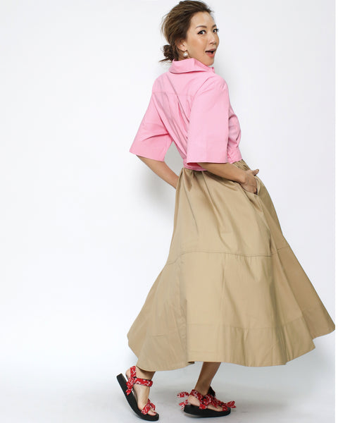 pink & camel shirt dress with belt